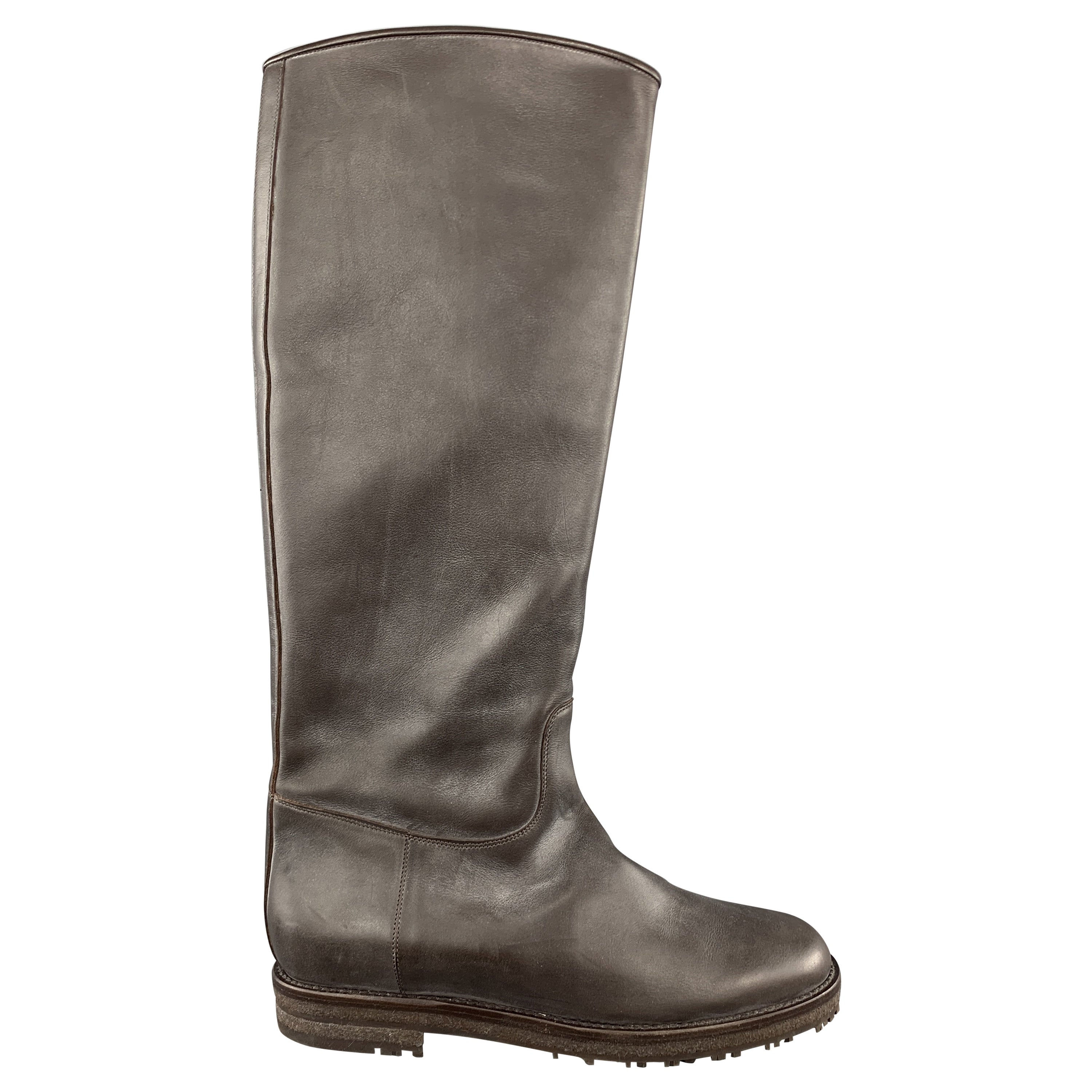 e798686317e LORO PIANA Size 5 Brown Solid Leather Knee High Flat Boots For Sale at  1stdibs