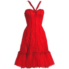 1995 Beville Sassoon Ruby-Red Sequin Ruched Tulle Fishtail Cocktail Dress