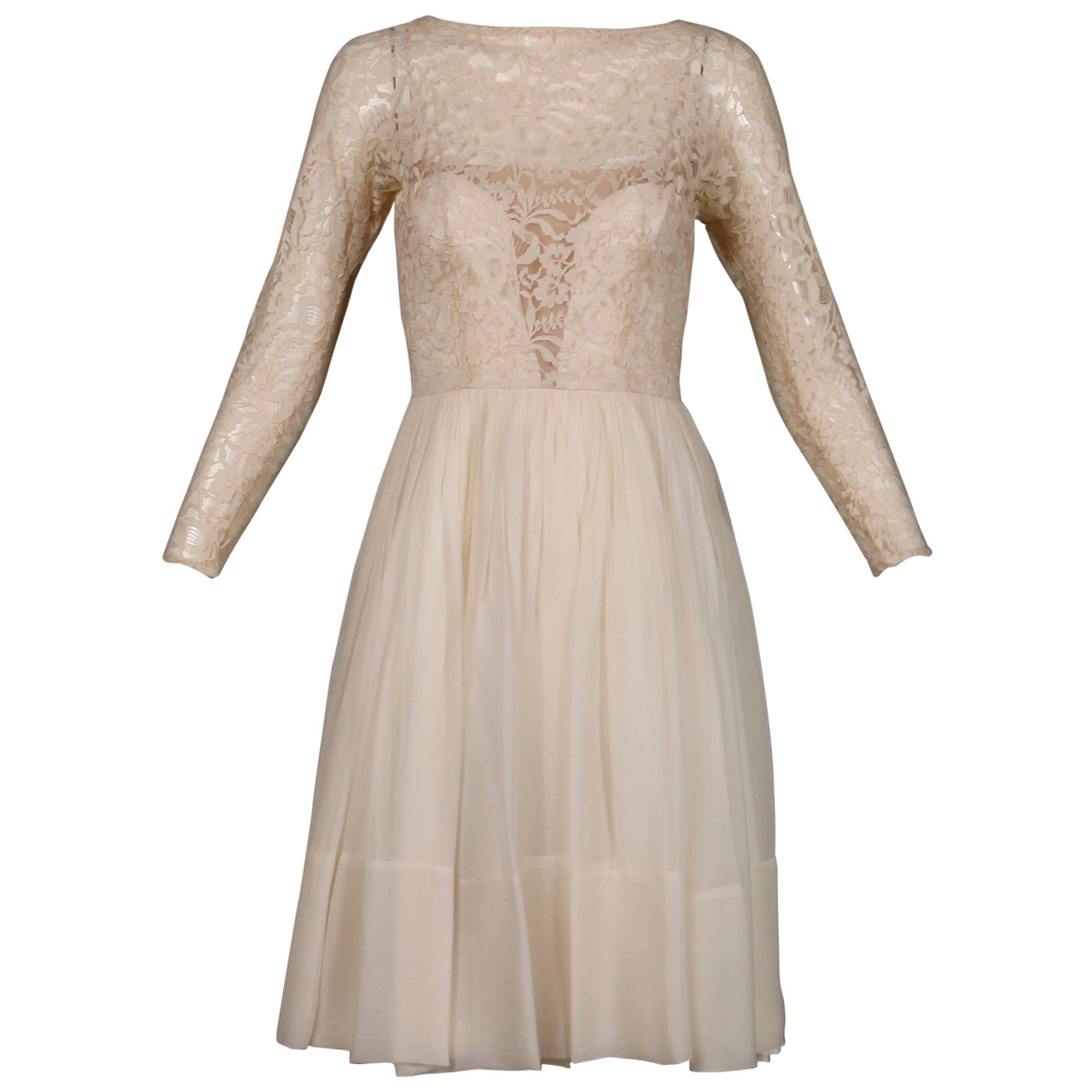 1960s Sandra Sage Vintage Cream Nude Illusion Lace + Silk Chiffon Dress