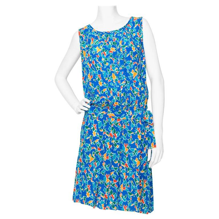 A 1980s Yves Saint Laurent Rive Gauche Graphic Sleeveless Silk Drop-waist Dress  For Sale