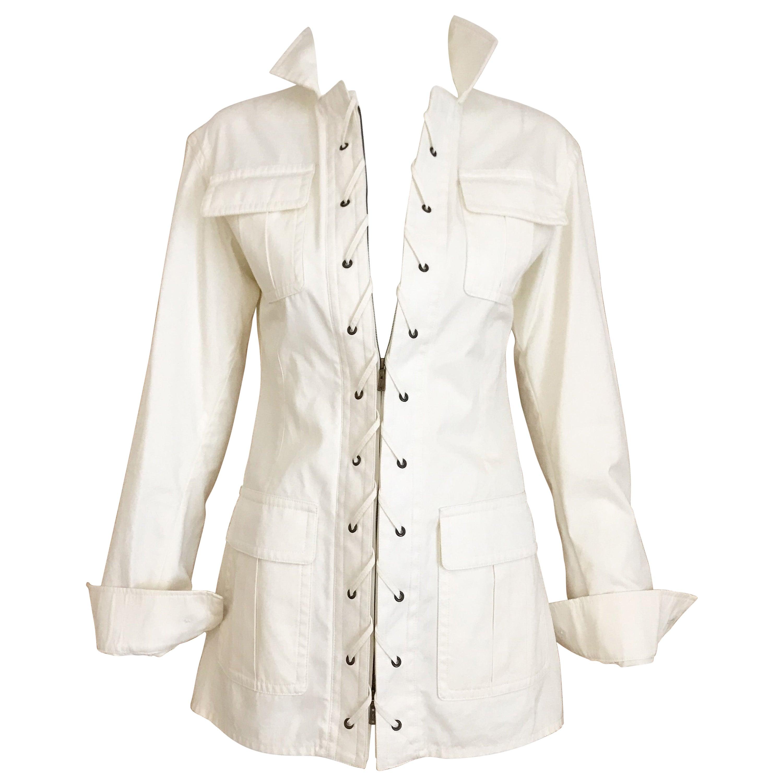 2000s Yves Saint Laurent White Cotton Safari Jacket
