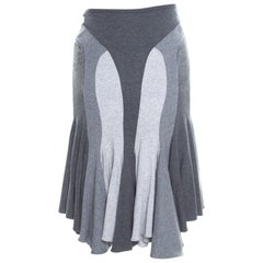 Alexander McQueen Grey Colorblock Paneled Jersey Flared Godet Skirt M