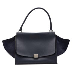 2012 Celine Navy Drummed Calfskin Leather & Suede Large Trapeze