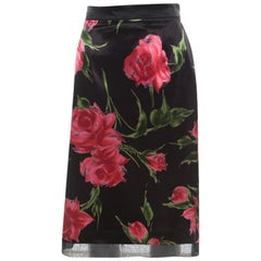 D & G Only Under 40 Vintage Black Rose Printed Satin Pencil Skirt L