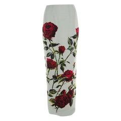 Dolce & Gabbana Mint Green Rose Printed Crepe Maxi Skirt XS