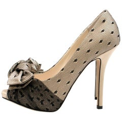 Dior Nude Silk Lace Embellished Pumps SIZE 35.5