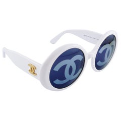 Chanel Vintage 1993 Iconic CC Lenses White Sunglasses