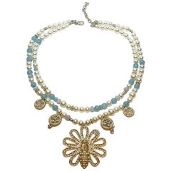 Chanel Blue & Pearl Bead Pendant Necklace, 2017