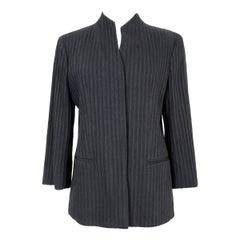 Etro Black Wool Pleated Korean Evening Jacket 1990s