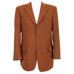 Emanuel Ungaro Brown Wool Check Cashmere Classic Jacket 1990s