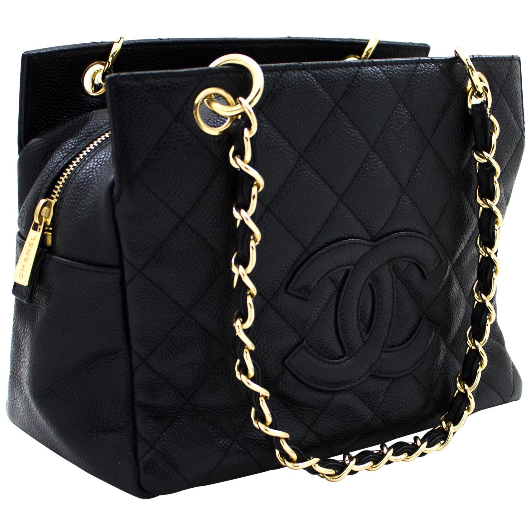 CHANEL Caviar Chain Shoulder Shopping Tote
