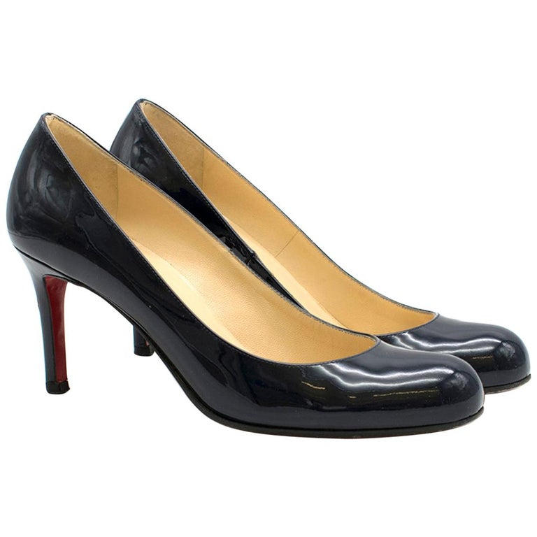 separation shoes 1ec40 4a043 Christian Louboutin Navy Leather 85mm Simple Pumps SIZE 36.5