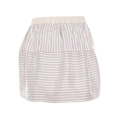 Louis Vuitton Beige Striped Silk Logo Elasticized Waist Mini Skirt M