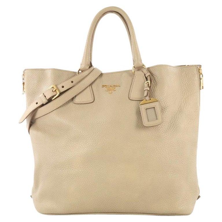 4b46ecd9 Prada Side Zip Convertible Shopper Tote Vitello Daino Large