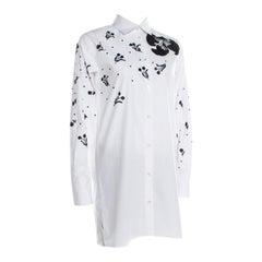 Valentino White Embellished Cotton Long Sleeve Shirt M