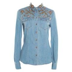 Roberto Cavalli Embellished Faded Effect Denim Long Sleeve Shirt M
