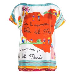 Dolce and Gabbana Multicolor Children's Drawing Printed Silk Top M