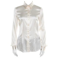 D&G Off White Satin Long Sleeve Shirt S