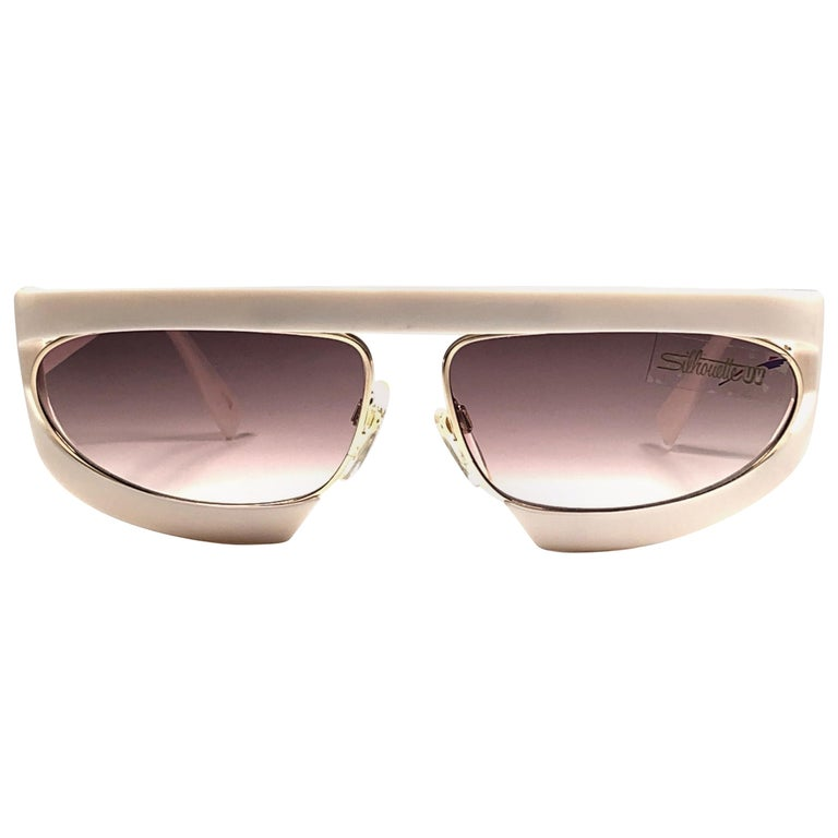 New Vintage Silhouette Mask M8020 White 1980's Sunglasses For Sale
