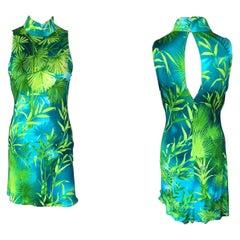 Gianni Versace S/S 2000 Vintage Tropical Palm Print Mini Dress
