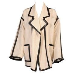 Karl Lagerfeld Black Lambskin Trimmed Mesh Jacket