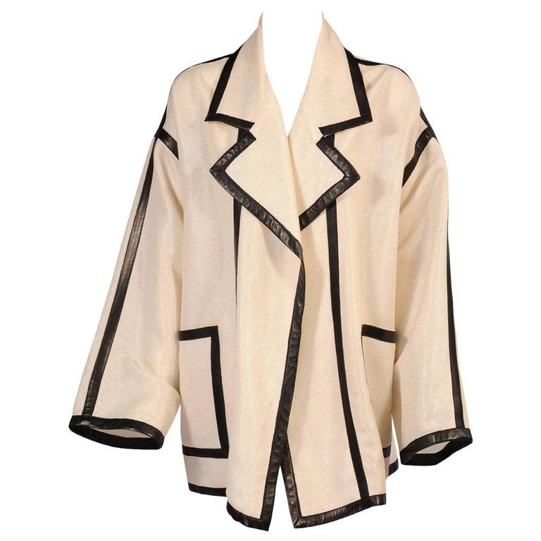 Karl Lagerfeld Black Lambskin Trimmed Mesh Jacket For Sale