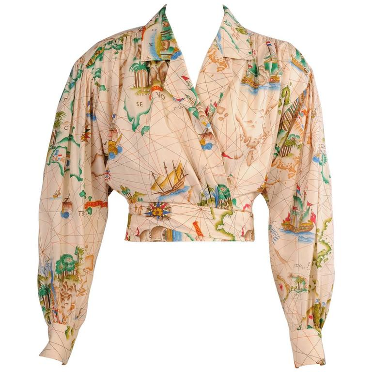 Kenzo Travel Theme Map Print Cotton Wrap Blouse 1