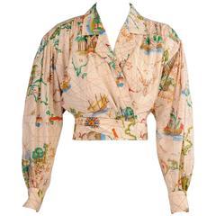 Kenzo Travel Theme Map Print Cotton Wrap Blouse