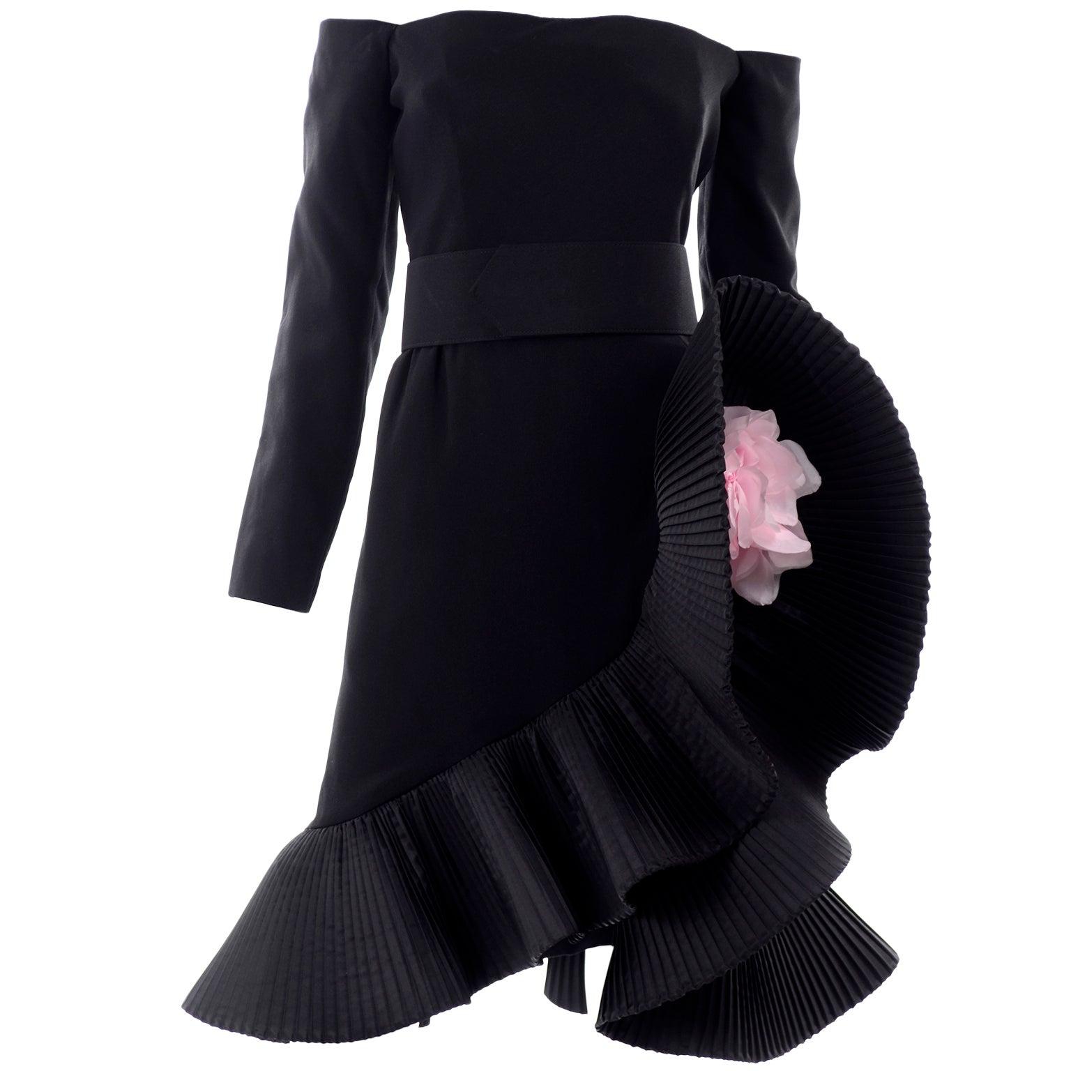 Vintage Victor Costa Black Off Shoulder Dress W Pleated Ruffle & Pink Flower