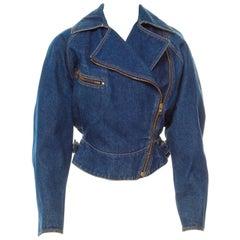 *Azzedine Alaia 1986 Vintage Denim Jacket Coat