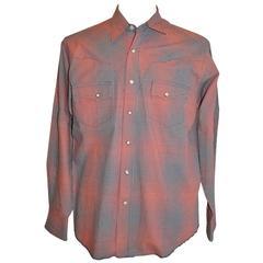 Vintage Wrangler Men's Red, White and Blue Checkered Signature Shirt
