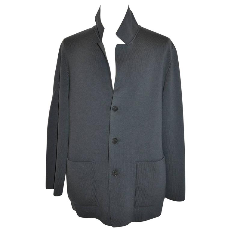 Gianfranco Ferre Men's Gray Sweater Jacket with Patch Pockets