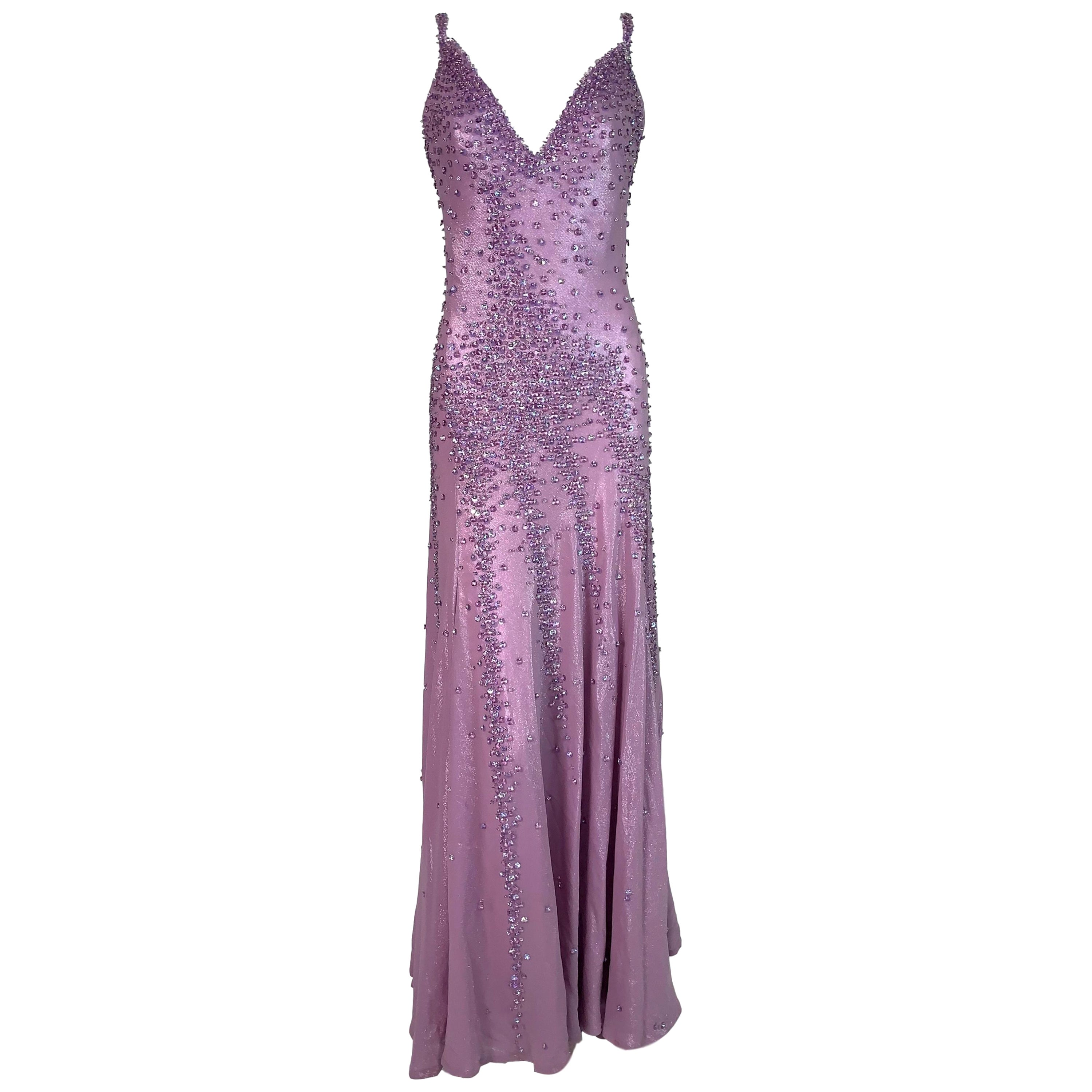 S/S 1995 Atelier Versace Gianni Runway Lavender Crystal Plunging Gown Dress