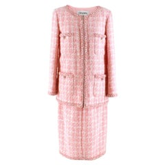 Chanel Supermarket Collection Pink & White Wool Tweed Skirt & Jacket 44