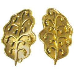 Vintage Isabel Canovas Faux Gold Leaf Earrings