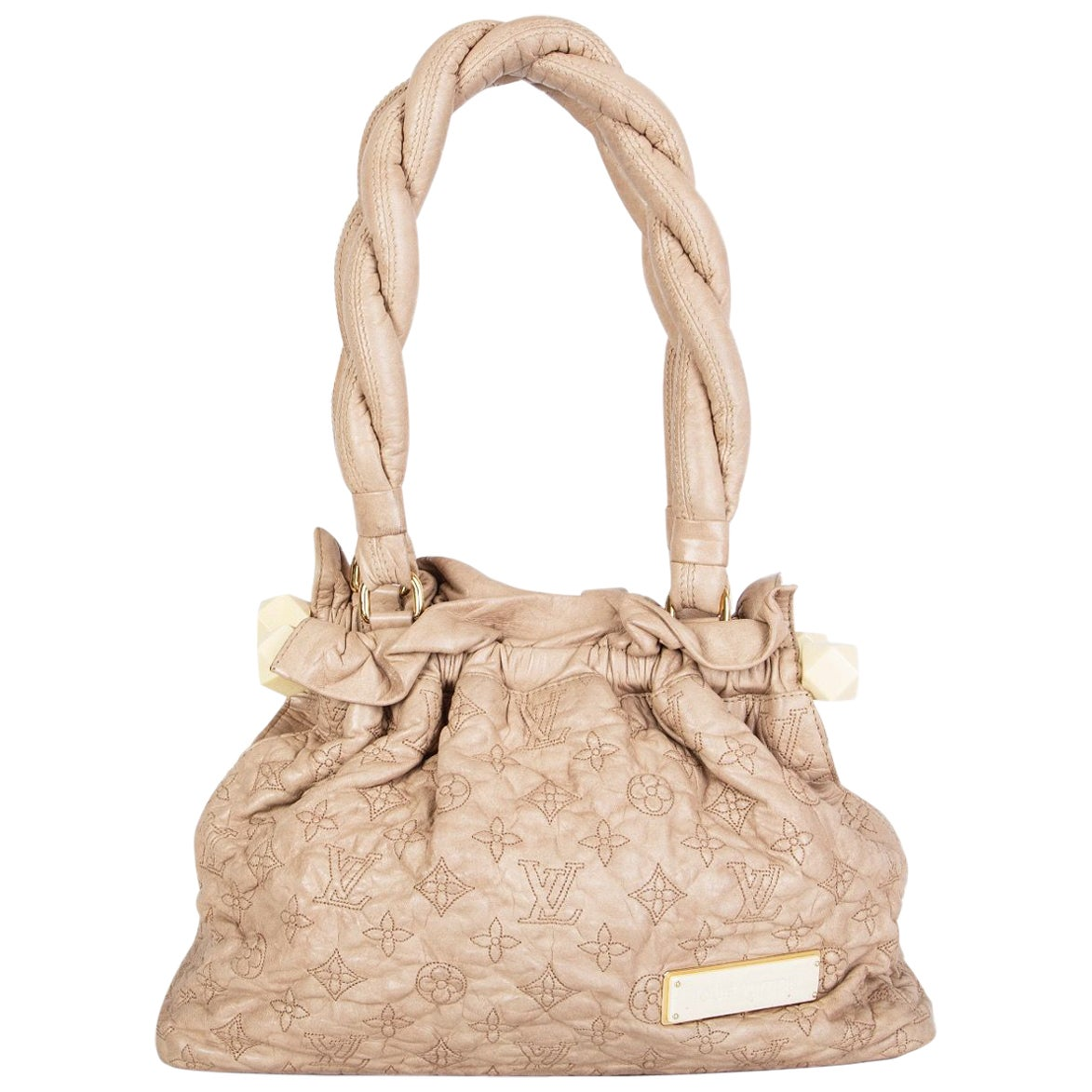 LOUIS VUITTON beige leather STRATUS Monogram OLYMPE PM Shoulder Bag LTD ED