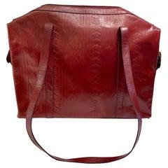 Very Large 1980s FENDI S.A.S. Diamond Embossed Burgundy Leather Purse
