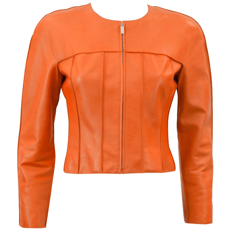 Spring 1999 Chanel Orange Cropped Leather Jacket