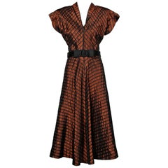 1940s Vintage Brown + Black Silk Taffeta Striped Dress with Belt