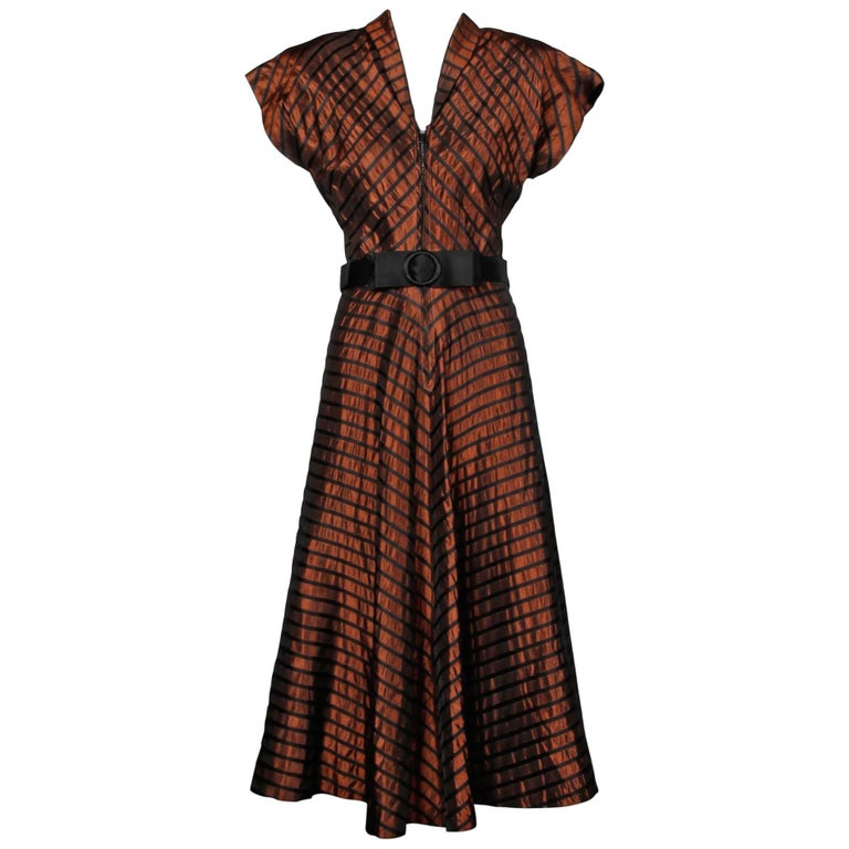 1940s Vintage Brown + Black Silk Taffeta Striped Dress with Belt