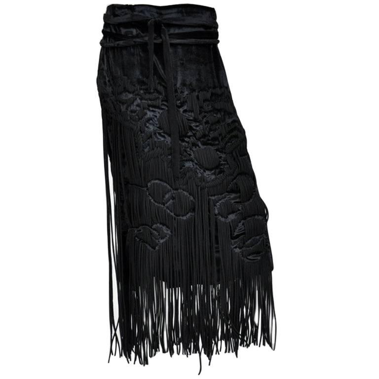 f5f3c2227b1 Tom Ford for Yves Saint Laurent black velvet skirt with fringe For Sale