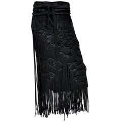 Tom Ford for Yves Saint Laurent black velvet skirt with fringe