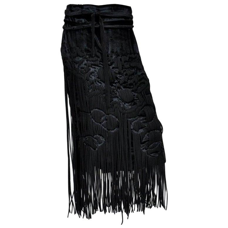 F/W 2001 Vintage Tom Ford for Yves Saint Laurent black velvet skirt with fringe