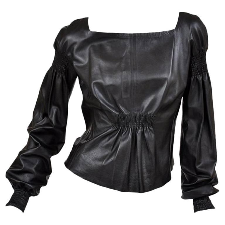 Tom Ford for Gucci Black Leather Top, A / W 1999  For Sale