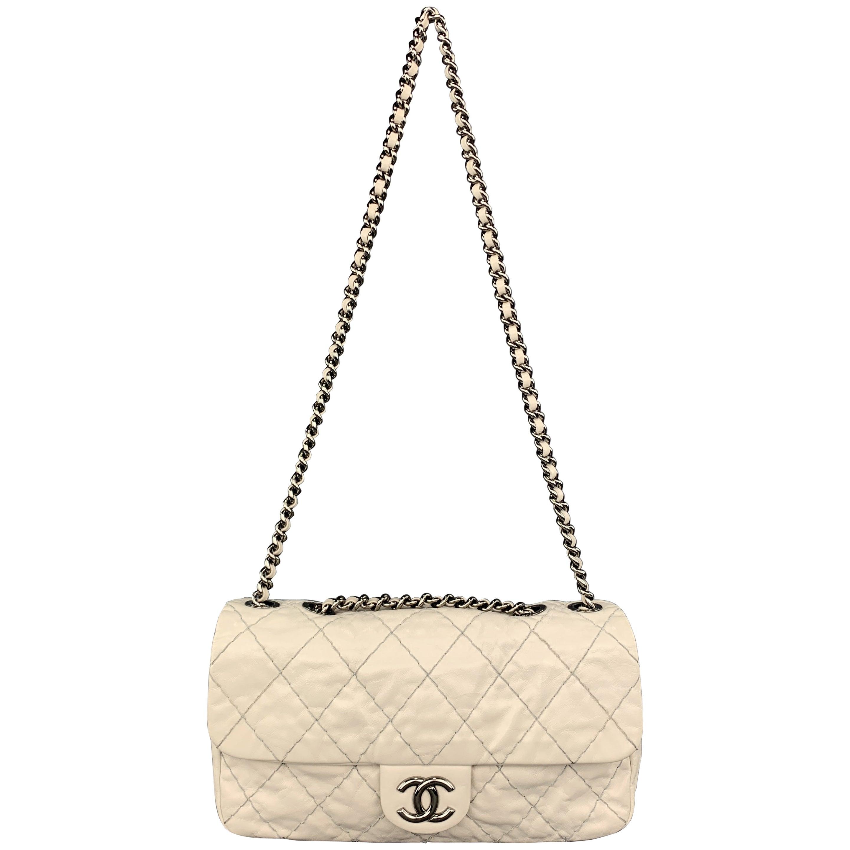 1af1bdf0a0f CHANEL Topstitch Quilted Cream Leather Flap CC Chain Strap Handbag
