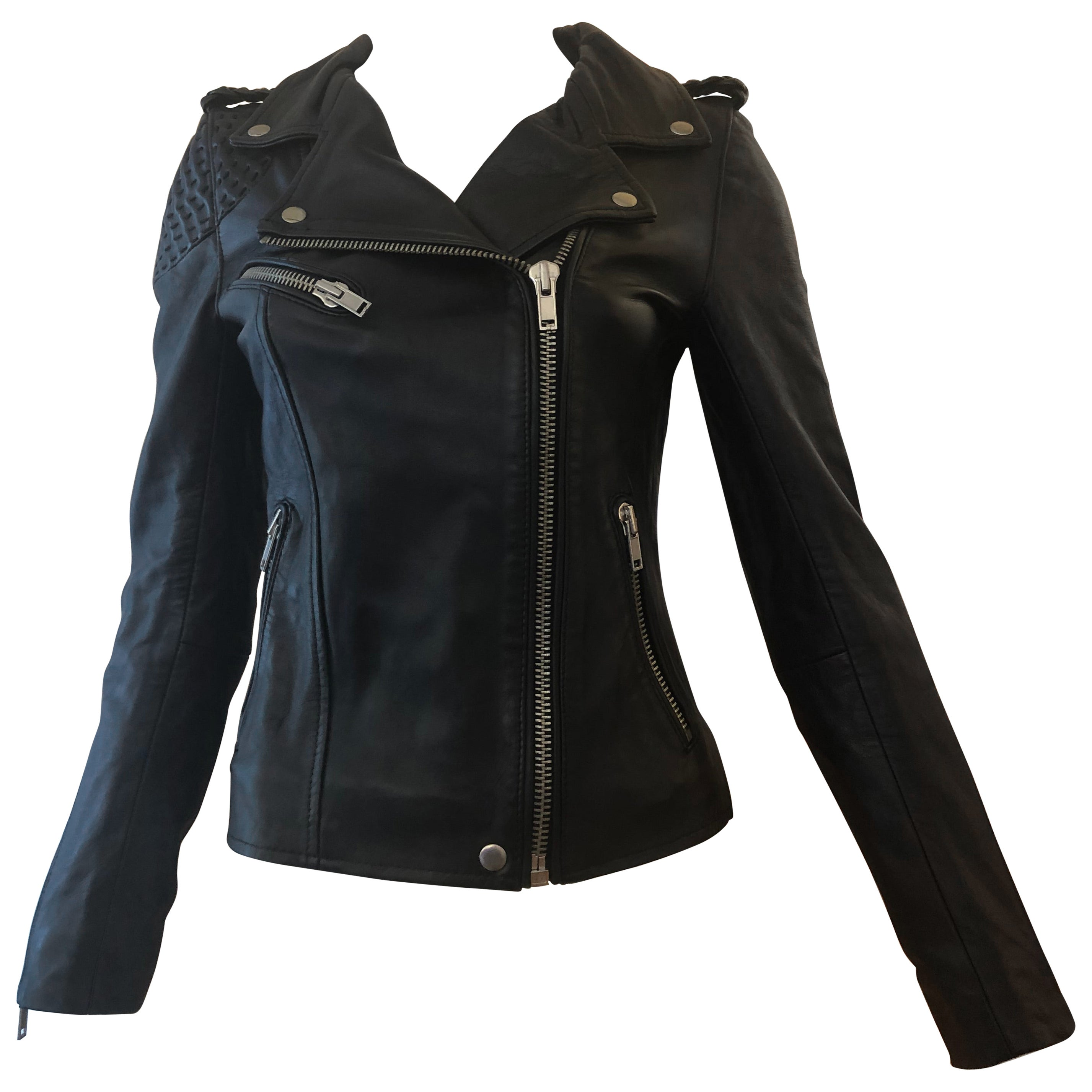 c66738fd9 MAJE Buttery Soft Black Leather Jacket w/Woven Leather Shoulders (S) New W/T