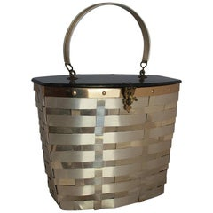 Goldstrom Vintage Goldtone Basket Weave with Grey Marbleized Top Bag, 1950s