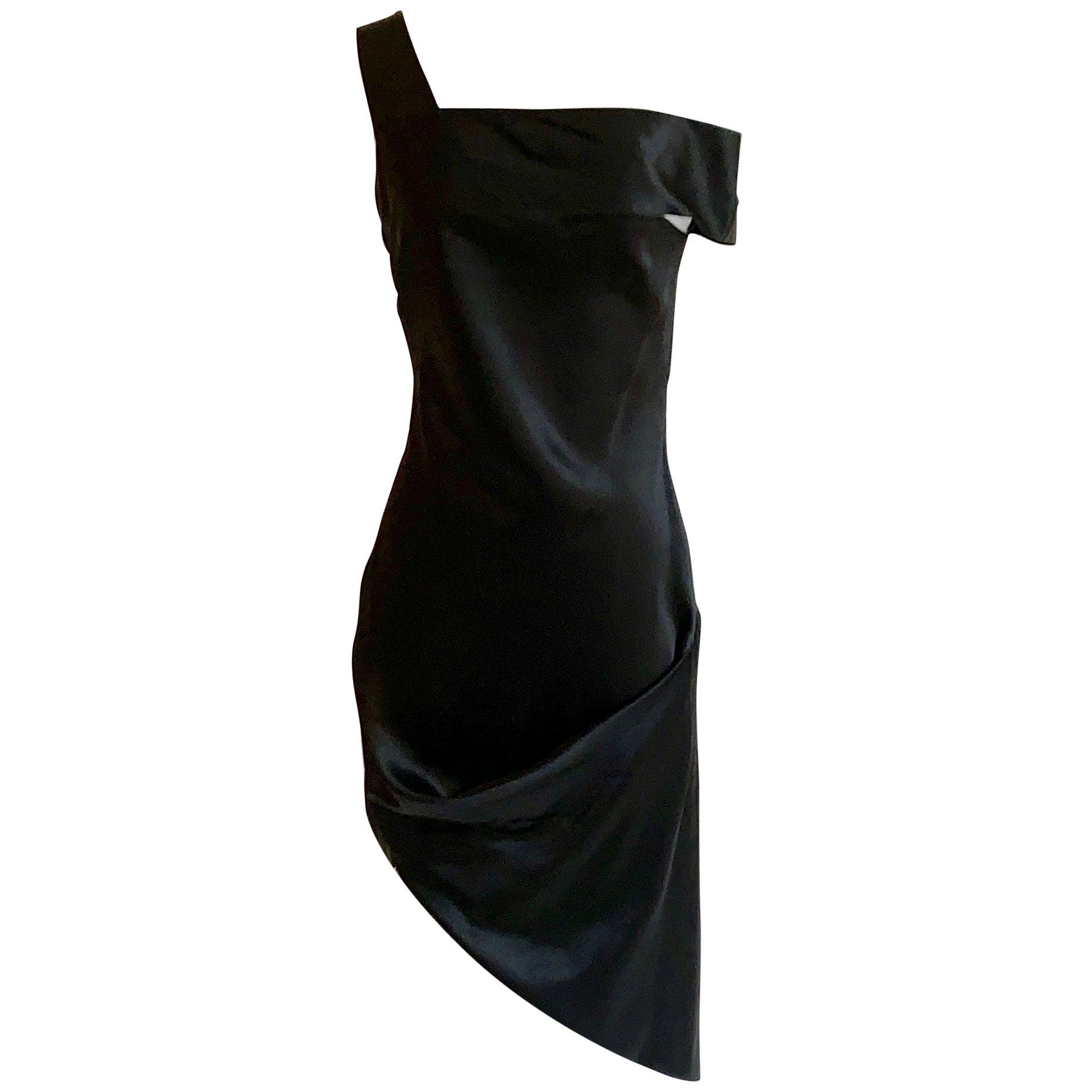 Alexander McQueen 2008 Black and Nude Silk Asymmetrical Drape Dress