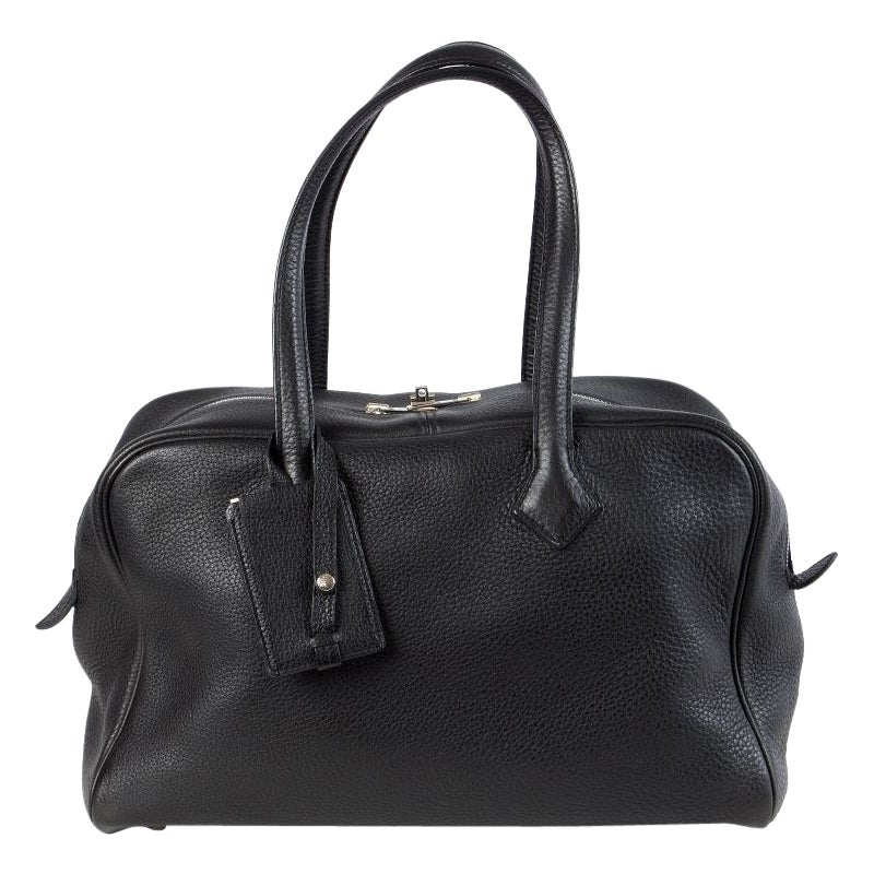 HERMES black Clemence leather VICTORIA FOURRE-TOUT 35 Shoulder Bag
