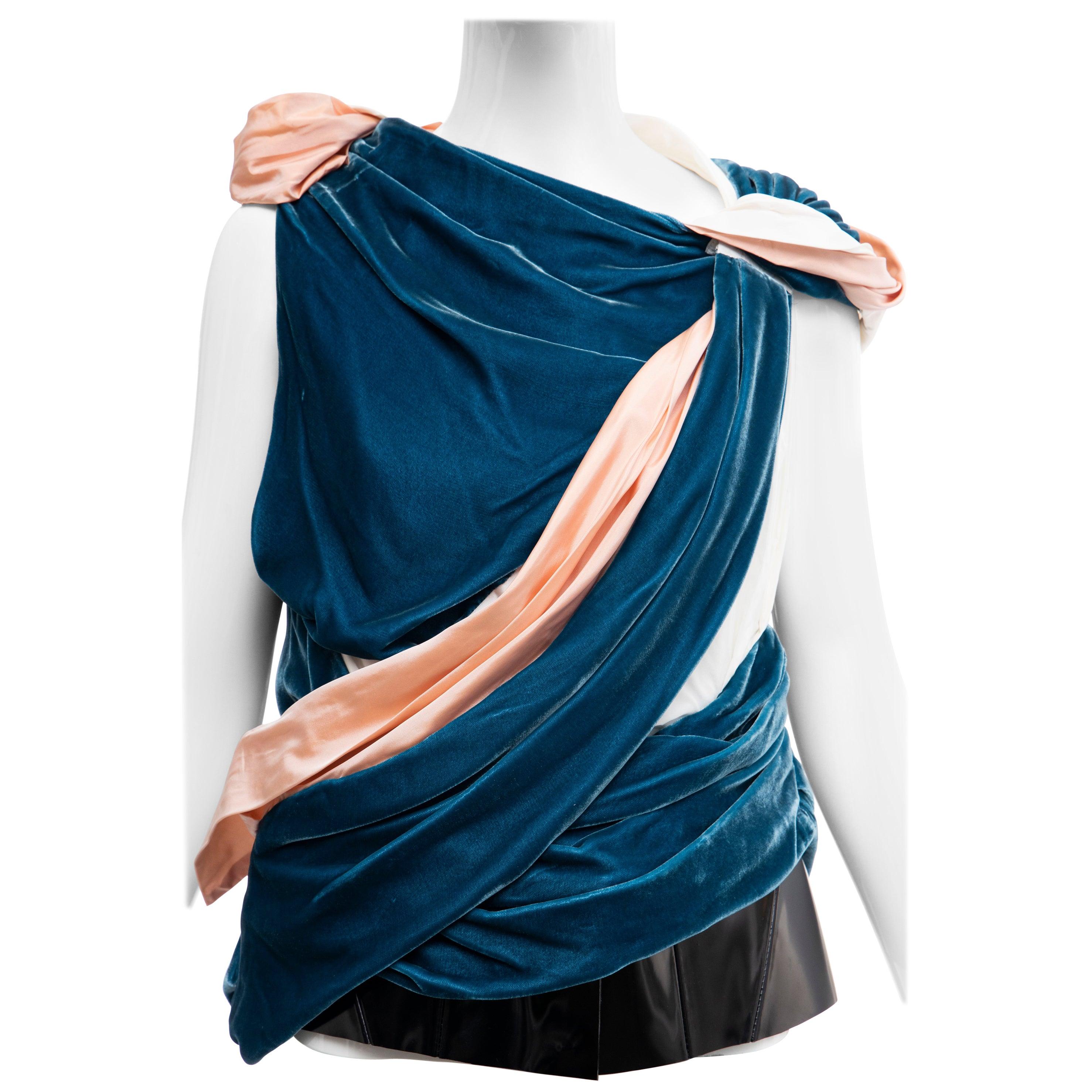 Nicolas Ghesquière for Balenciaga Runway Draped Silk Velvet Top , Fall 2008
